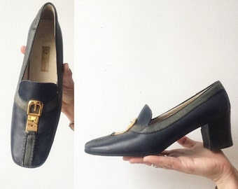 1960s leather Gucci loafer pumps sz 5.5 6 N