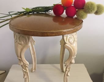 VINTAGE VANITY STOOL, Cast Iron, 1940s-50s, Florentine, Baroque, Victorian, Romantic Home, French Provencial, Gold, White at Ageless Alchemy