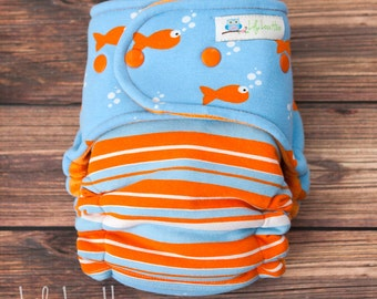 "Hybrid Fitted Cloth Diaper- ""Fish Out of Bag/Stripes"""