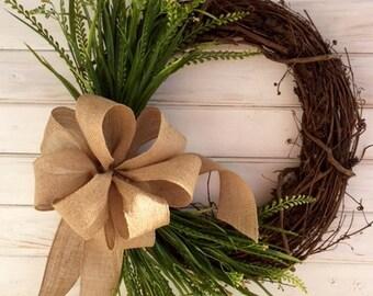 Everyday Grapevine Wreath with Greenery--Front Door Wreath--Burlap Wreath--Spring Wreath--Summer Wreath