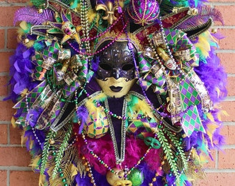 SALE - UPDATED Mardi Gras Dark Purple Venetian Jester Mask Wreath- Huge, XL Masquerade Wreath, Gold, Green, Peacock, magenta, Fleur di Lis