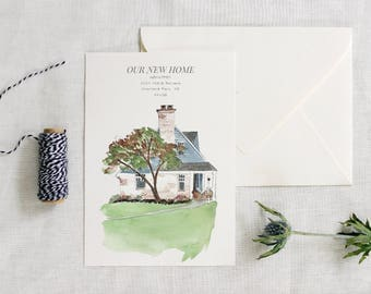 New Home Announcement, Home Painting, Custom House Painting, DIY Home Announcement, Address Card, Watercolor House, Printable New Address