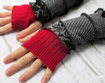 Gloves - Urban - Upcycled Clothing - Hippie - Hippy - Renfaire - Festival - Cashmere  & Cotton - Recycled Sweaters - Online Fashion - Biking