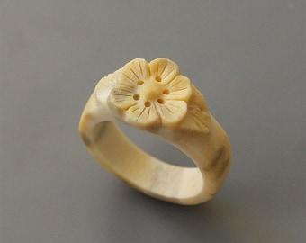 Antler ring, Size 6 US, Flower ring, Antler jewelry, Bone ring, Bone jewelry, Bone carving, Antler flower, Engagement ring, Wedding ring