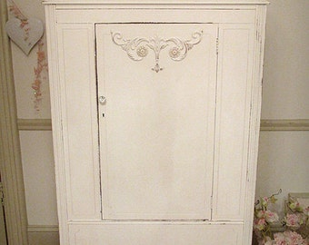 Forever Pink - Gorgeous Linen White Antique Armoire
