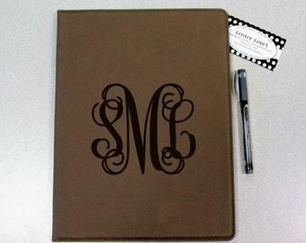 Personalized Leatherette Portfolio - Dark Tan - Monogrammed Portfolio
