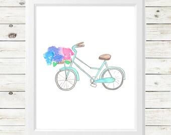 vintage bicycle watercolor print - vintage bicycle art print - vintage bicycle art - vintage bicycle with flowers - vintage bike art print