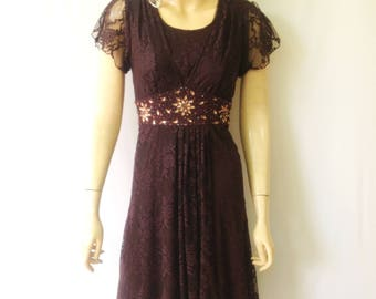 Brown Lace Bridesmaid Dress. Dress With Sleeves. Brown Knee Length Dress. Lace Party Dress.