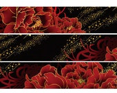 1 Roll of Limited Edition Gold Foiled Washi Tape: Red Flower