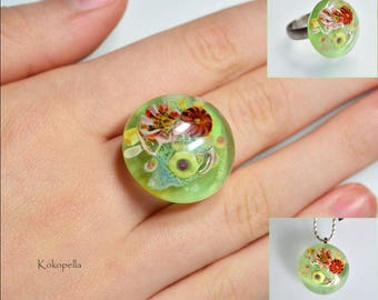 Lampwork beads, Ringtop Flower meadow, Artist pearl, Ring attachment for change ring Stainless steel - Design by Kokopella