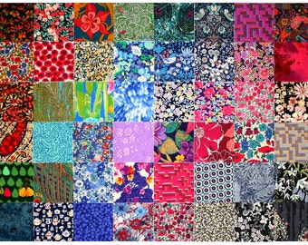 """SALE 15% off Liberty Fabric 48 Mini 2.5"""" Charm Pack Squares Bundle Patchwork Quilting dark deep colours and Grey Liberty of London Tana Lawn"""