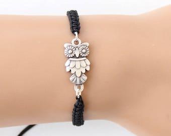 Owl bracelet, black macrame bracelet, adjustable bracelet, best friend birthday gift, gift for her