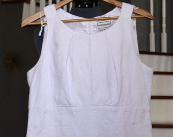 Vintage Short Wedding Dress - White Cotton Dress - Dress For a Casual Wedding - Size 16