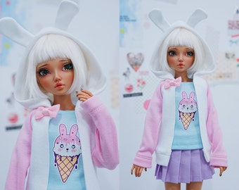 Slim MSD or SD BJD hoodie - White bunny ears on pink and white hoodie jacket