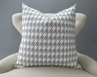 Gray Houndstooth Pillow Cover, Throw Pillow, Euro Sham, Accent Pillow, Gray and White Decor -MANY SIZES- Storm Premier Prints