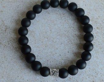 Men's Black Beaded Stretch Bracelet