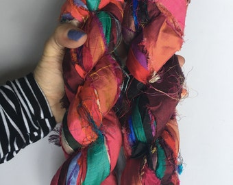Recycled Silk Sari Ribbon - Art Yarn - Handmade, Eco-Friendly & Socially Responsible - 2 Skeins