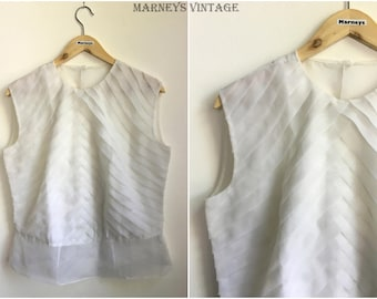 """Vintage 1950s Top - 50s White Pleated Bodice Blouse - Button Back Blouse - UK 16/18 - Large XL -  Bust 42"""" -"""