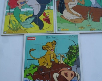 Little Mermaid, Pocahontas & Lion King Playskool puzzles, individual or as a set, Playschool childrens
