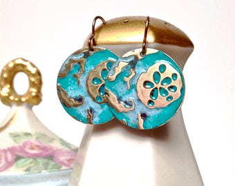 Hand patina'd brass sand dollar earrings, teal earrings, sea life jewelry, blue beach earrings, beach jewelry, summer jewelry, gift for her