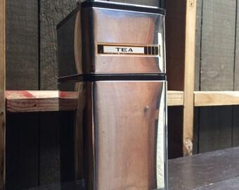 Mid century chrome tea & sugar canisters, Kromex, USA