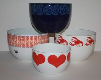 Retro large one enamel bowl by Finel, Arabia Wartsila, Finland - take your pick