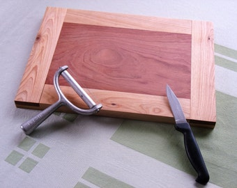 Cutting Board, Cheese Board, Made with Solid Maple Frame and Purple Heartwood Inset