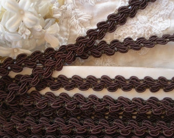 "1y Vintage 3/8"" Chocolate Brown Gimp Passementerie Braid Ribbon Trim Lampshade Doll Upholstery Pillow Purse Tote Bag Sewing Trim"