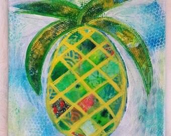 Blue/Green Pineapple 12x12 Mixed Media