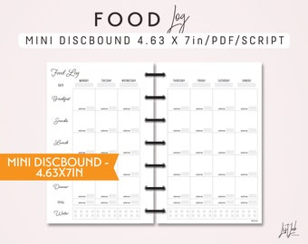 MINI DISCBOUND Food Log - Printable Discbound Planner Insert (4.63 x 7in) - Script Theme - fits the Mini Happy Planner