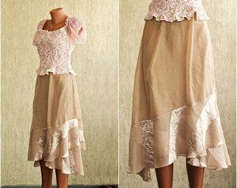 Vintage GOLDEN Skirt, size S / 32-34, SALE