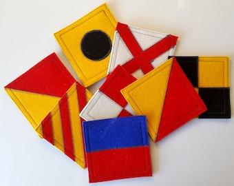 I LOVE YOU nautical flag wool felt coaster set