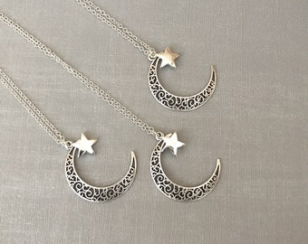 Moon necklace - star necklace, moon, star, charm, charm necklace, silver necklace, crescent moon necklace, jewellery, moon and star
