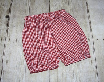 2t Red Ready to Ship Bloomer Shorts for Boys or Girls Gingham Shorts for Baby, toddler, and Gingham Shorts size 2t