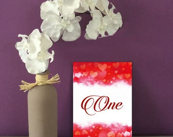 Red Hearts Wedding Table Numbers