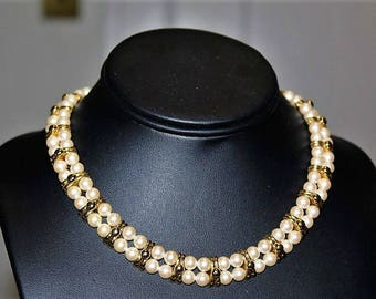 MONET Designer Couture High End Double Strand Faux Pearl Gold Tone Choker Necklace ND8