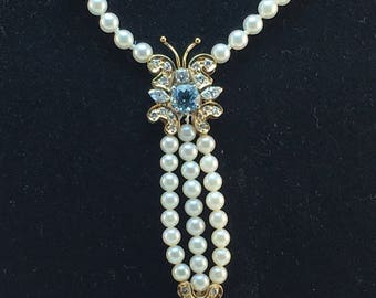 Pearl Diamond and Blue Topaz Butterfly Necklace - 14k Yellow Gold - Diamonds G H Color - VS - Diamond Blue Topaz Butterfly # 820