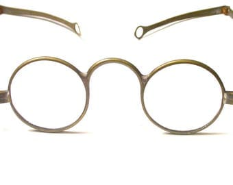 Antique Glasses - Gold Tone Antique Spectacles - Eyewear - Round Spectacles - Brass # 15