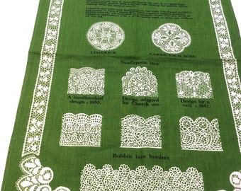 Vintage Irish Linen Tea Towel, Made in Ireland, Irish Lace Tea Towel, Excellent Condition.