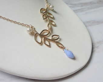 Hollow out double female leaves clavicle pearl chain necklace