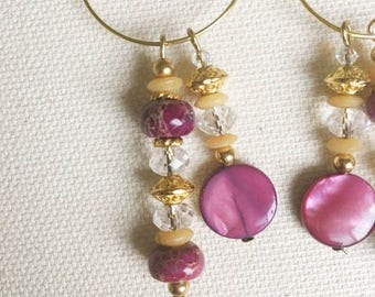 ORIGINS // Vintage Beaded Earrings // Semi Precious Stone // Boho Chic // Bohemian Jewelry // Purple and Gold
