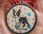 Boston Terrier Necklace-Terrier Dog Jewelry-Handmade Resin Pendant Jewelry