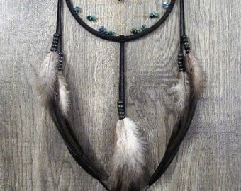 Dream Catcher Black Suede with Rooster Feathers