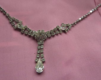 Flashy Chic Rinestone Necklace with Teardrop Accents and Faux Pendant