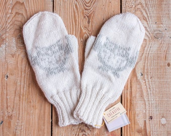 Knit Wool Mittens, Ivory Merino Handknit Winter Gloves, Owl Mittens Christmas Gift for her, Arm Warmers, Womens mittens, Gift for girlfriend