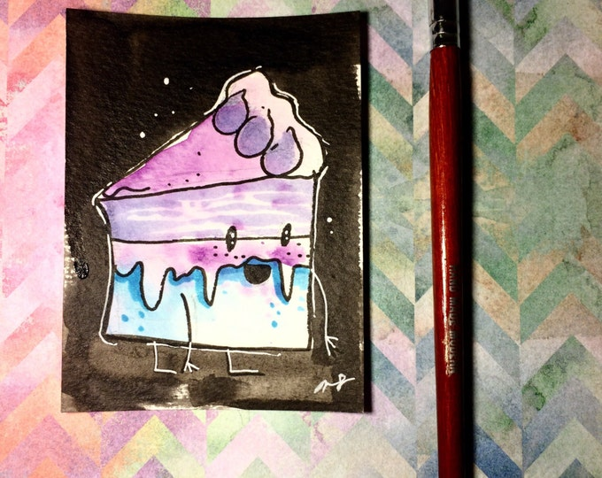 """Watercolor and ink Painting """"Happy Cake"""" 3x4 inches drawing / decoration."""