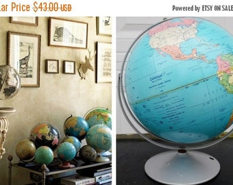 "ON SALE Vintage, 1991, Replogle, 12"", World, Globe, Concept Map and Globe, Political Globe Series, USA, Vintage, Blue, Collectibles"