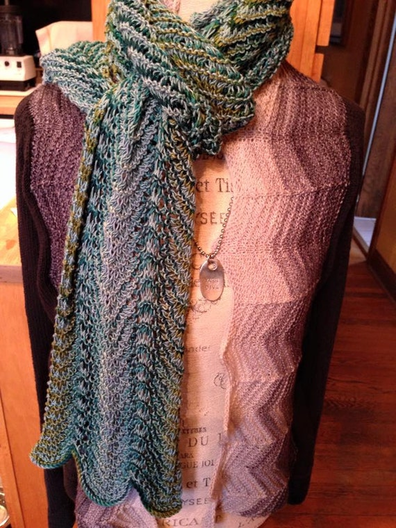 Knit Silk Yarn Waves Scarf Pattern Knitting