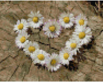 Daisy Heart Cross Stitch Pattern, Digital Download PDF