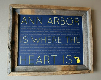 Ann Arbor Is Where The Heart Is Word Art Print (Maize & Blue) - Unframed